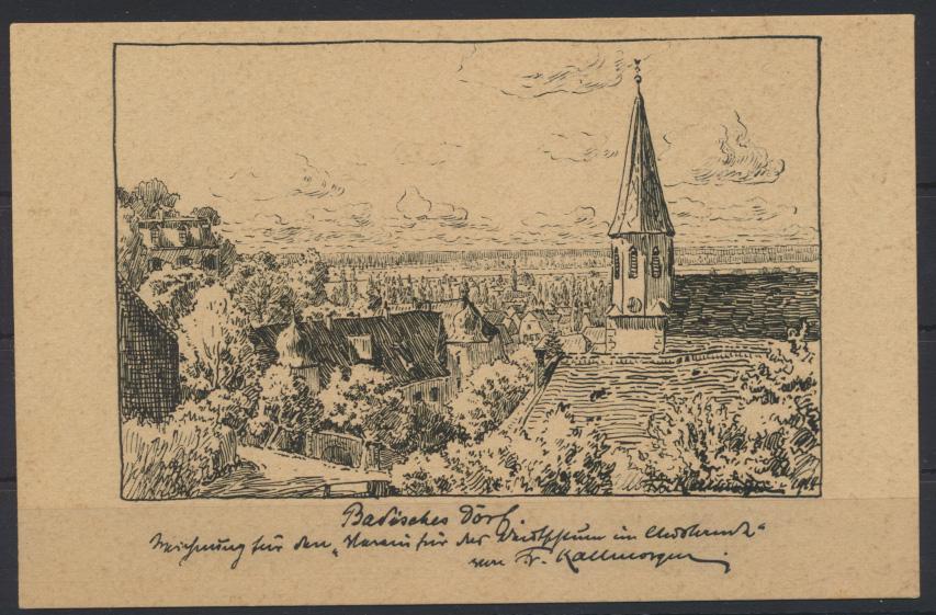 Ansichtskarte Deutsche Künstler Postkarten 196 sig Fr Kallmorgen Badisches Dorf  0
