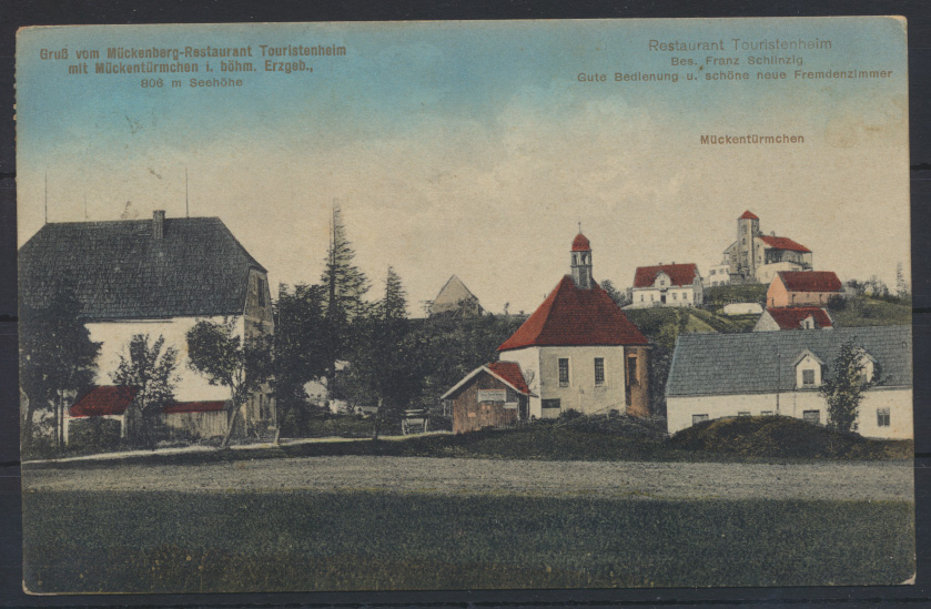Ansichtskarte Mückenberg Komáří hůrka Restaurant Erzgebirge Böhmen Mückentürmche 0
