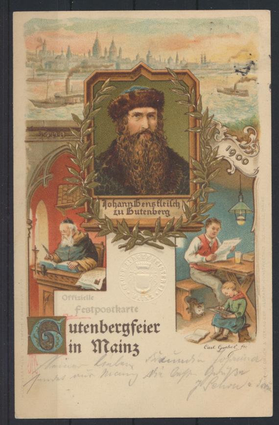 Ansichtskarte Künstler Litho Gutenberg Festpostkarte Mainz 1900 nach Bonn mit  0