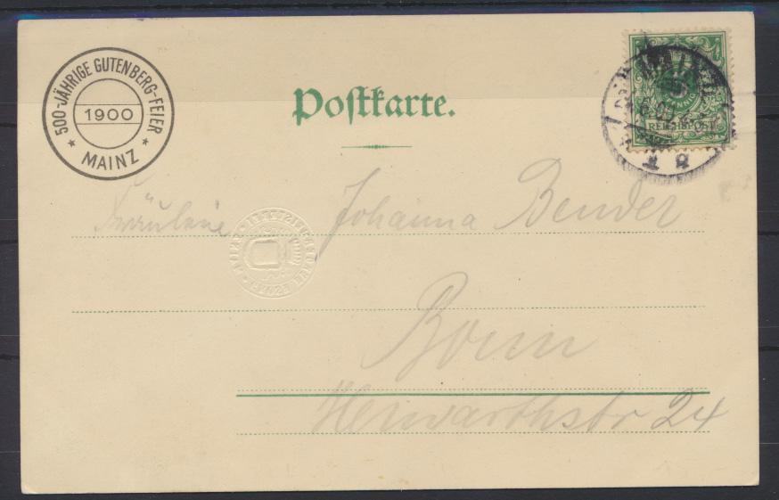 Ansichtskarte Künstler Litho Gutenberg Festpostkarte Mainz 1900 nach Bonn mit  1