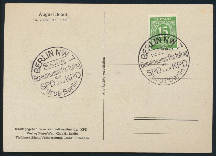 Besetzung Anlasskarte August Bebel Autogramm ST Berlin Parteitag SPD KPD Politik 1
