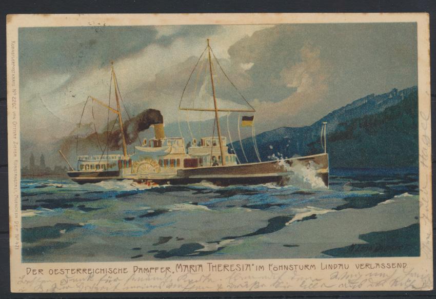 Künstler Ansichtskarte Litho Schiffahrt Seefahrt Österreich Dampder M. Theresia  0