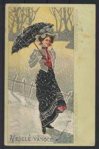 Künstler Ansichtskarte Jugendstil Art Nouveau Schneeflocken