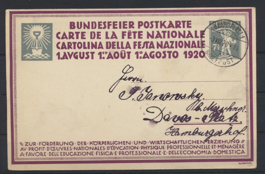 Schweiz Künstler Ganzsache P 61 01 Le Labour Arbeit Bundesfeuerkarte Erziehung 1