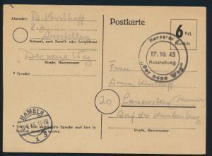 Besetzung Bizone Behelfspostkarte Ganzsache P 673 selt. SST Hannover Ausstellung