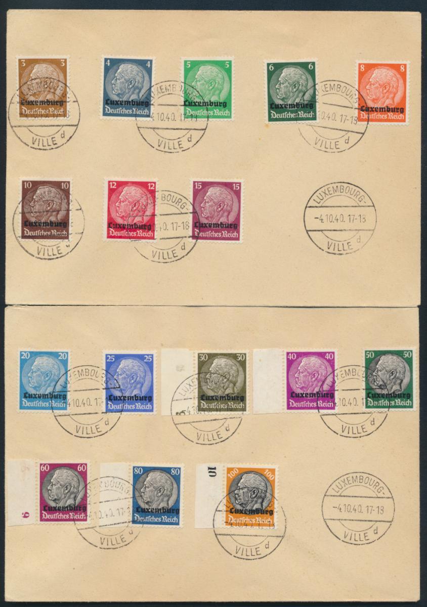 Besetzung 39-45 Luxemburg 1-16 auf 2 Satzbriefen teils vom Rand Kat.-Wert 35,00 0