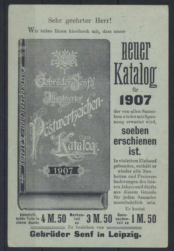 Deutsches Reich Ganzsache PZD 2 X Senf Leipzig Katalog 1907 nach Karlsruhe 0