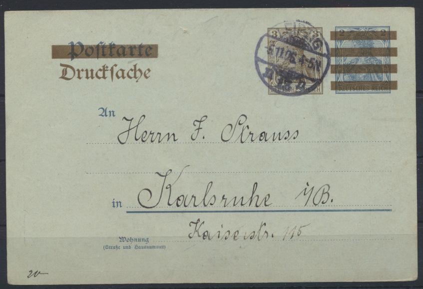 Deutsches Reich Ganzsache PZD 2 X Senf Leipzig Katalog 1907 nach Karlsruhe 1