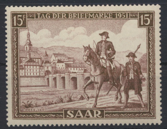 Saarland 305 Tag der Briefmarke 1951 Luxus postfrisch MNH Kat.-Wert 12,00 0