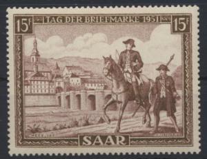 Saarland 305 Tag der Briefmarke 1951 Luxus postfrisch MNH Kat.-Wert 12,00