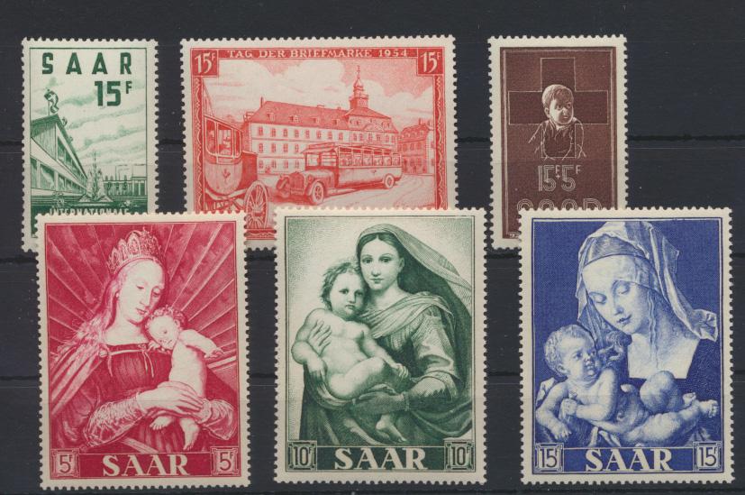 Saarland 348-353 4 Ausgaben Jahrgang 1954 Luxus postfrisch MNH Kat.-Wert 29,50 0