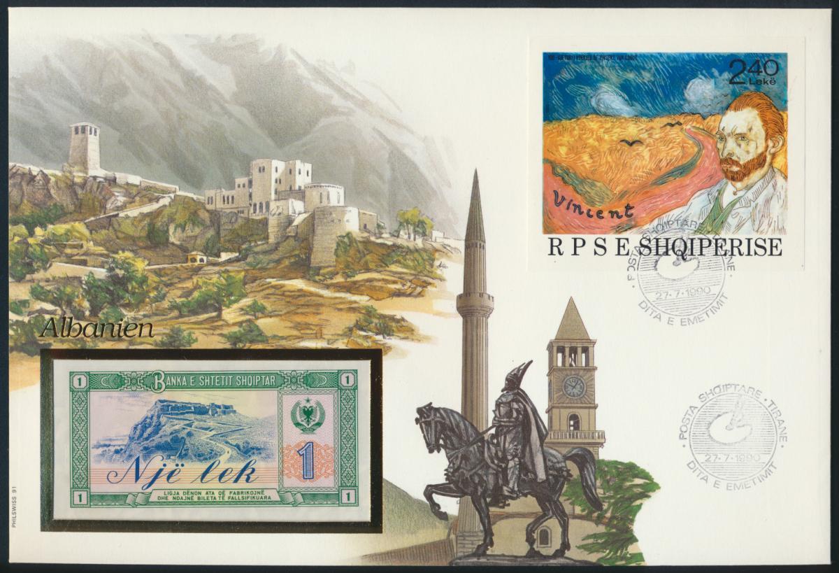 Geldschein Banknote Banknotenbrief Albanien 1990 schön und exotisches Motiv   0