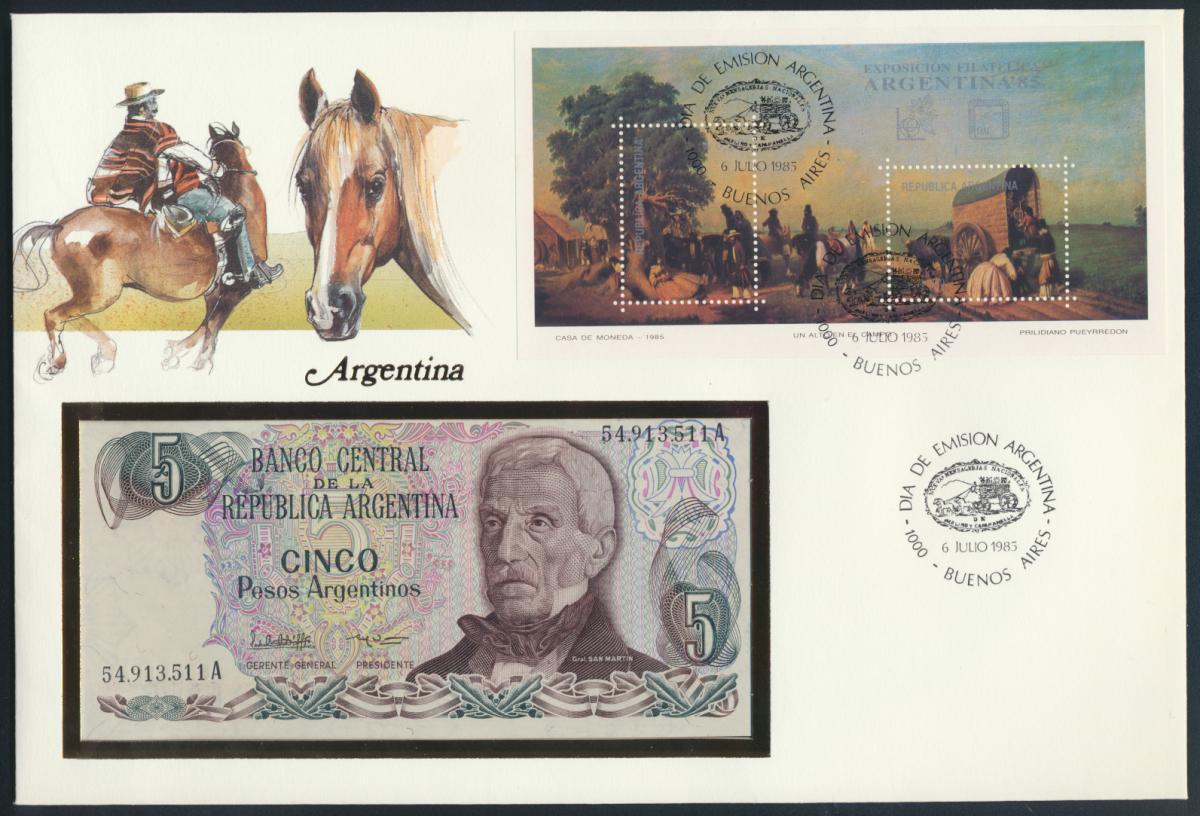Geldschein Banknote Banknotenbrief Argentinien 1985 schön und exotisches Motiv   0