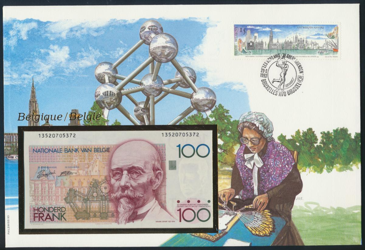 Geldschein Banknote Banknotenbrief Belgien 1993 schön und exotisches Motiv   0