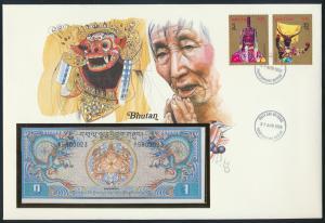 Geldschein Banknote Banknotenbrief Bhutan 1985 schön und exotisches Motiv