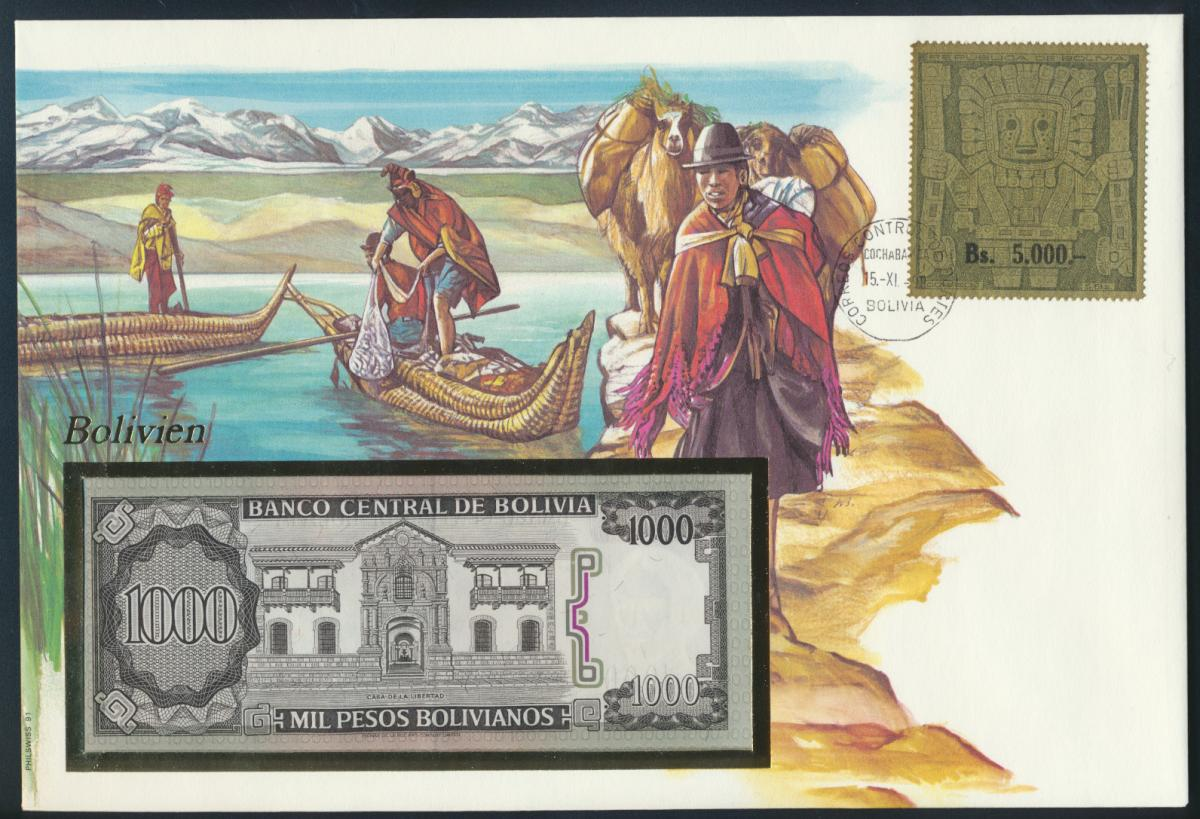 Geldschein Banknote Banknotenbrief Bolivien 1990 schön und exotisches Motiv   0