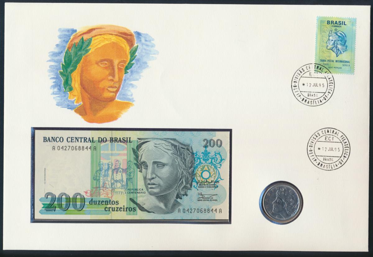 Geldschein Banknote Banknotenbrief Brasilien 1995 schön und exotisches Motiv   0