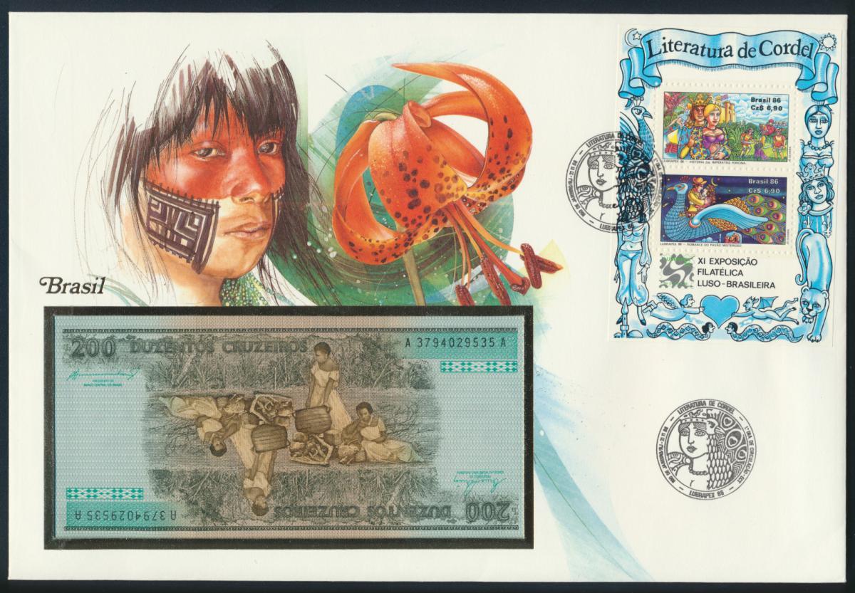Geldschein Banknote Banknotenbrief Brasilien 1986 schön und exotisches Motiv   0