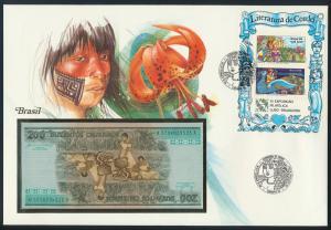 Geldschein Banknote Banknotenbrief Brasilien 1986 schön und exotisches Motiv