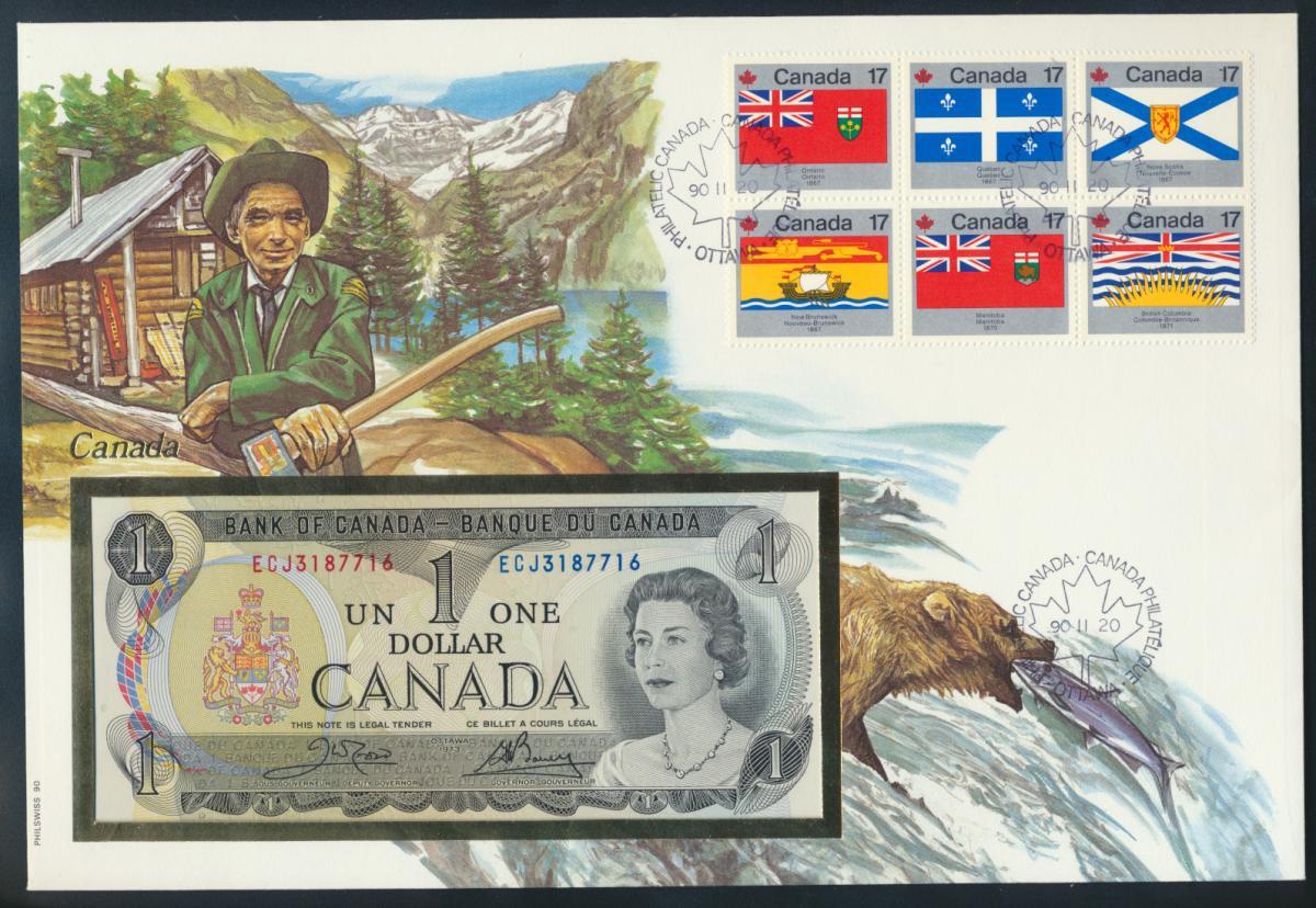 Geldschein Banknote Banknotenbrief Kanada 1990 schön und exotisches Motiv   0