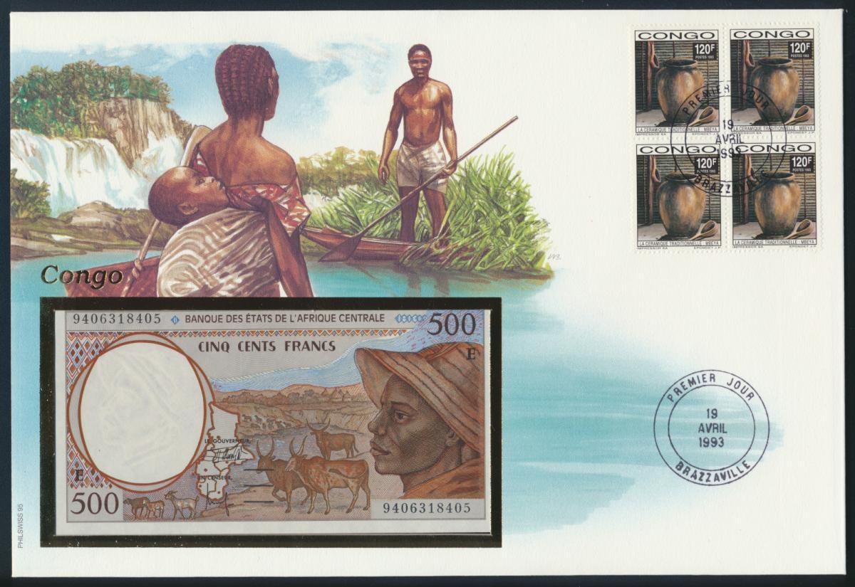 Geldschein Banknote Banknotenbrief Kongo Afrika 1993 schön und exotisches Motiv  0