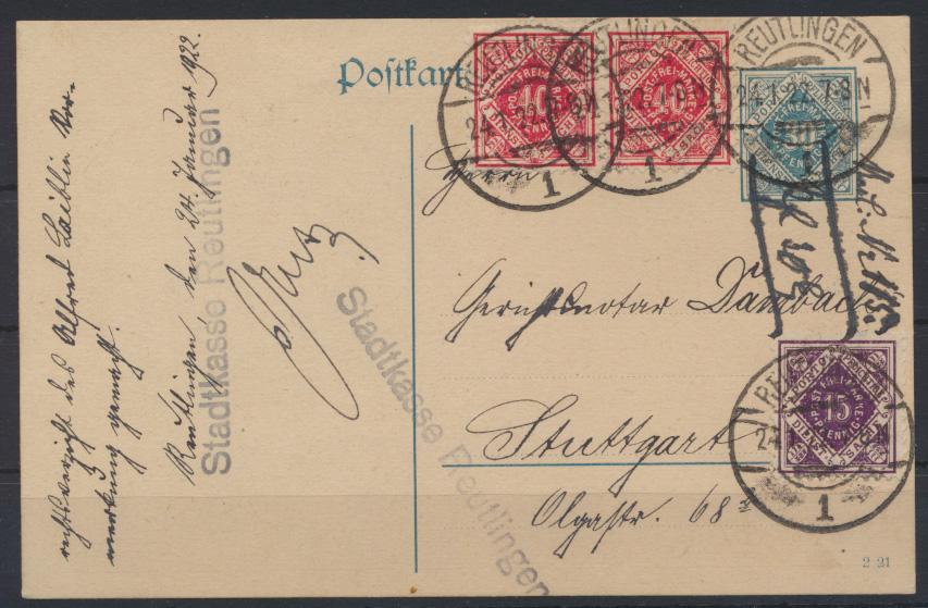 Deutsches Reich DP 12 01 Infla Dienst Ganzsache bildgleiche ZUF von Württemberg 0