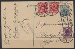 Deutsches Reich DP 12 01 Infla Dienst Ganzsache bildgleiche ZUF von Württemberg