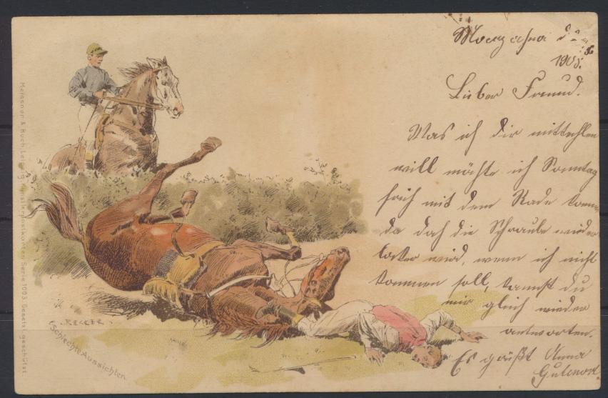Ansichtskarte Litho Motiv Tiere Pferdesport Künstler Verlag Meissner Buch Serie  0