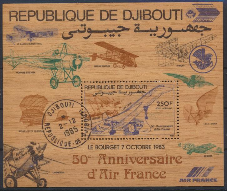 Dschibuti Flugpost Block 87 auf Holz Air France Flugeuge Luxus gest.Kat 28,00 0