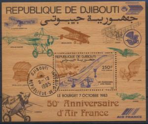 Dschibuti Flugpost Block 87 auf Holz Air France Flugeuge Luxus gest.Kat 28,00