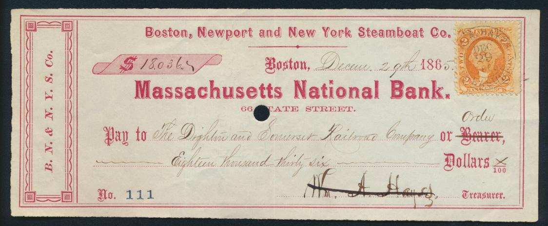 Banknote Geldschein Scheck USA Dampfschiff-Gesellschaft an die Eisenbahn mit 2 c 0
