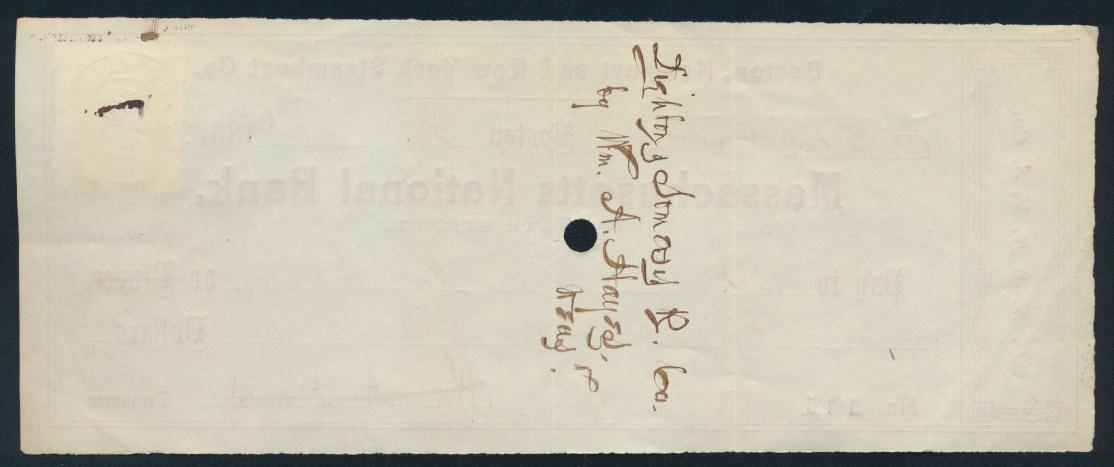 Banknote Geldschein Scheck USA Dampfschiff-Gesellschaft an die Eisenbahn mit 2 c 1