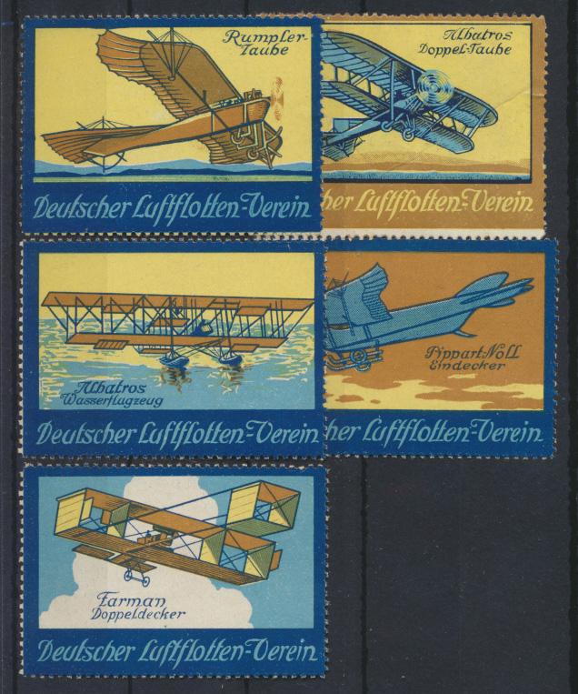 Flugpost Art Deco Vignetten Reklamemarken Deutscher Flottenverein Künstler  0