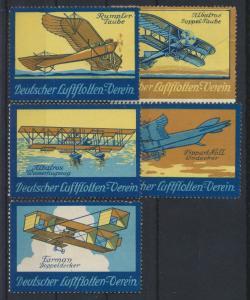 Flugpost Art Deco Vignetten Reklamemarken Deutscher Flottenverein Künstler