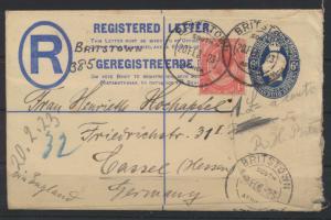 Südafrika Brief Ganzsache 4 a 6 d King Georg blau mit ZuF Britstown nach Kassel