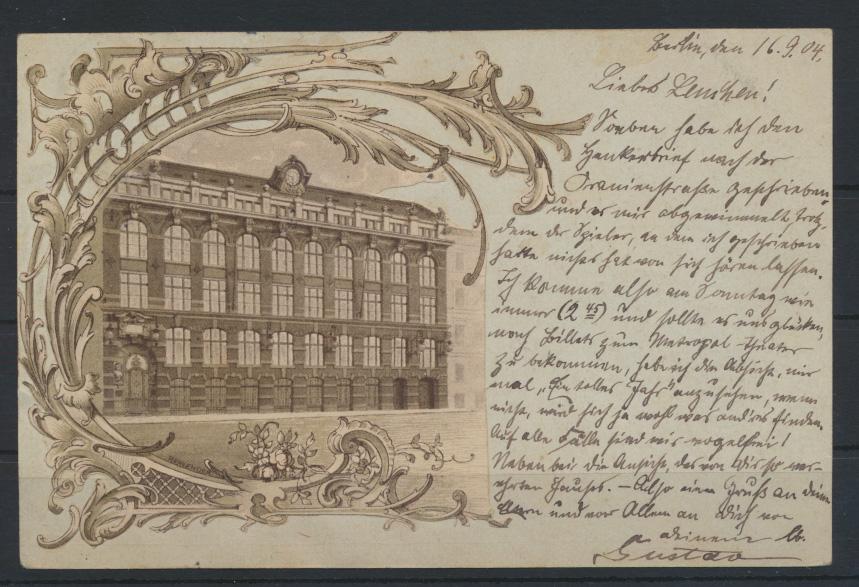 Ganzsache sehr interessant mit aufgeklebten Bild als Ansichtskarte Berlin 1904 0