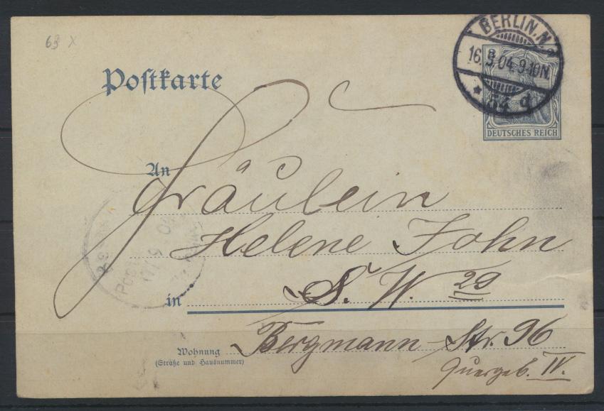 Ganzsache sehr interessant mit aufgeklebten Bild als Ansichtskarte Berlin 1904 1