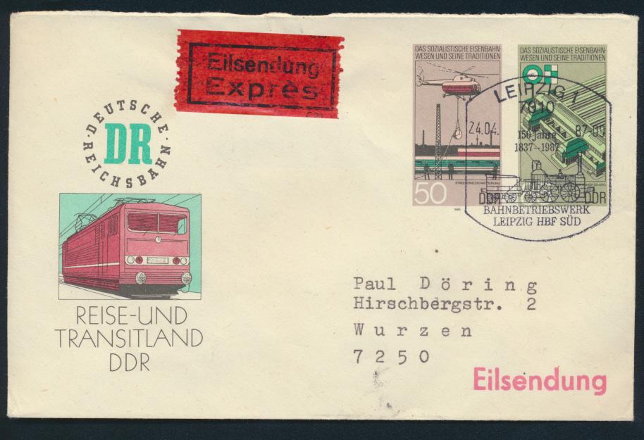 DDR Privatganzsache Eilsendung Eisenbahn Reichsbahn 2 WST Leipzig BPA n. Wurzen 0