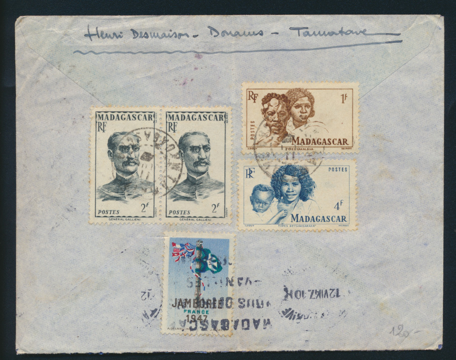 Madagaskar Brief 393,396 399 Vignette Motive Persönlichkeiten Madagascar Cover  0