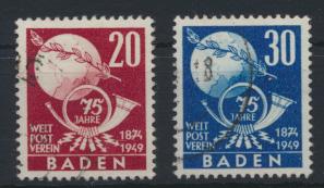 Franz. Zone Baden 56-57 UPU Weltpostverein gestempel Kat.-Wert 25,00