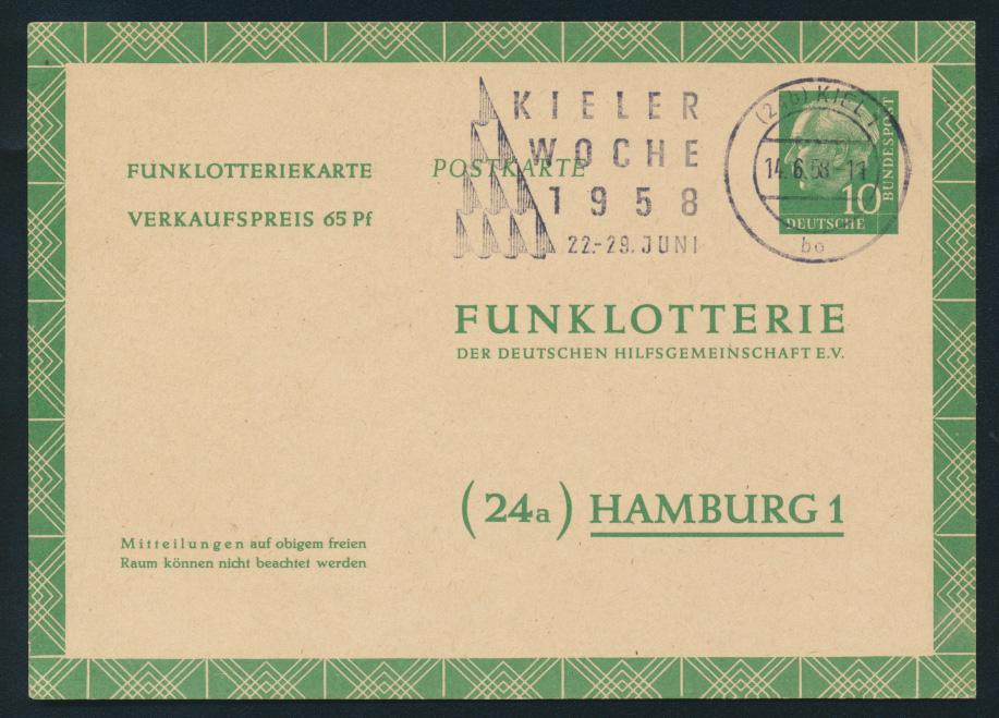 Bund Ganzsache FP 6 a Funklotterie Werbestempel Kieler Woche 1958 0