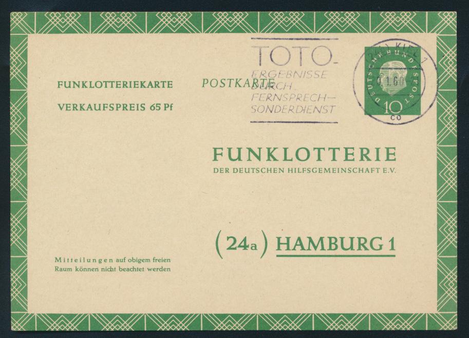 Bund Ganzsache FP 7 a Funklotterie TOTO Fernsehlotterie Kiel 1960 n. Hamburg 0