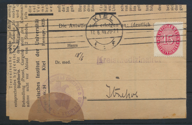 Deutsches Reich Schleswig Brief EF Dienst 118 Kiel Itzehoe Medizin Hygienisches 0