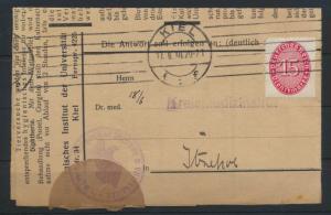 Deutsches Reich Schleswig Brief EF Dienst 118 Kiel Itzehoe Medizin Hygienisches