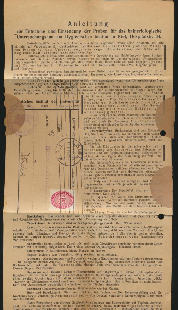 Deutsches Reich Schleswig Brief EF Dienst 118 Kiel Itzehoe Medizin Hygienisches 2