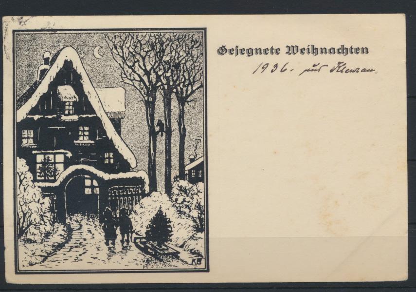 Ansichtskarte Künstler sign. KB  Weihnachten von Eutin n Mittelsfelde 22.12.1936 0