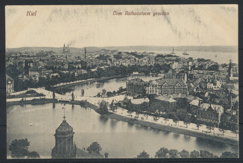 Ansichtskarte Kiel v. Rathausturm Regensburg Kaiserliche Marine Festungslazarett 0