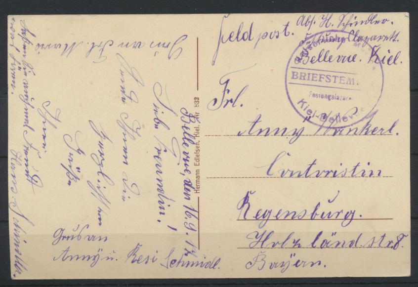 Ansichtskarte Kiel v. Rathausturm Regensburg Kaiserliche Marine Festungslazarett 1