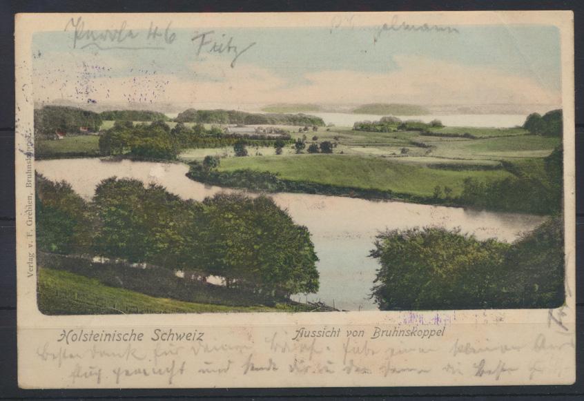 Ansichtskarte Bruhnskoppel Stempel Posthülfsstelle Zug.....1903 n Grötzingen 0