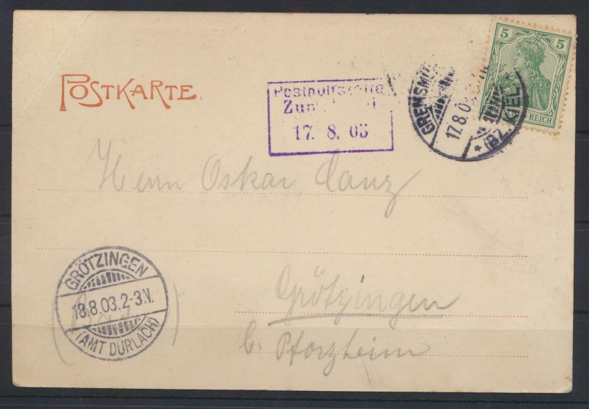 Ansichtskarte Bruhnskoppel Stempel Posthülfsstelle Zug.....1903 n Grötzingen 1
